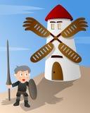 Don Quijote contra un molino de viento stock de ilustración