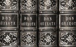 Don Quixote Antique Book Series in bianco e nero immagini stock libere da diritti
