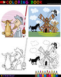Don Quixote for coloring. Coloring Book or Page Cartoon Illustration of Don Quixote and his Horse Fairytale Characters Royalty Free Stock Photos