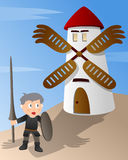Don Quixote de encontro a um moinho de vento Foto de Stock