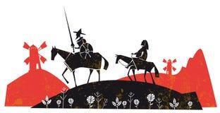 Free Don Quixote De La Mancha And Is Servant Sancho Panza, With Windmills Royalty Free Stock Image - 187096626