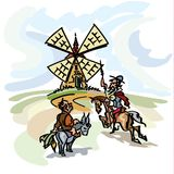 Don Quixote die de windmolen, zijn bediende, Sancho Panza op ezelsrug aanvallen Royalty-vrije Stock Afbeelding