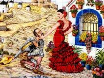 Don Quixote with Dulcinea mural at Puerto Lapice, La Mancha, Spain, Espana
