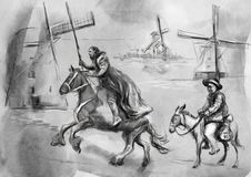 Don Quixote - An hand painted illustration. Digital drawing tech Royalty Free Stock Image
