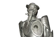 Abstract knight. Don Quixote made from a variety of waste metal royalty free stock photos