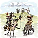 Don Quixote med hans tjänare, Sancho Panza som beskådar väderkvarnarna stock illustrationer