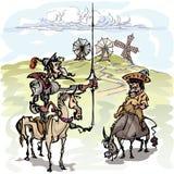 Don Quixote mit seinem Bediensteten, Sancho Panza, der die Windmühlen erwägt stock abbildung