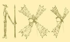 Don Quixote och väderkvarnar som är liknande till bokstäver tecknade kvinnor för framsidahandillustration s Retro gravyr för tapp Fotografering för Bildbyråer