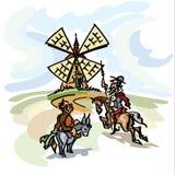 Don Quixote que ataca el molino de viento, su criado, Sancho Panza en la parte posterior del burro stock de ilustración