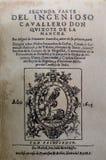 Don Quixote-roman, Eerste uitgave van Tweede Deel, 1615 royalty-vrije stock foto