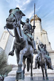 Don Quixote and Sancho Panza. Statue on Spain Square in Madrid Royalty Free Stock Images