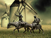 Don Quixote and Sancho Panza stock illustration