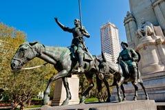 Don Quixote, Sancho Panza e Cervantes Foto de Stock Royalty Free