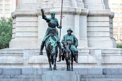 Don Quixote and Sancho Panza monument on Spain square, Madrid, Spain royalty free stock photo