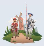 Don Quixote and Sancho Panza riding on windmill background. Book characters. Flat vector illustration. stock illustration