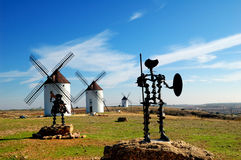 Don Quixote and Sancho Panza statue. Spain, windmills and Don Quixote statue in Mota del Cuervo Royalty Free Stock Photos