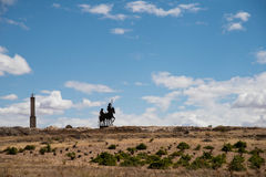 Don Quixote silhouette on Spain Roads Royalty Free Stock Images