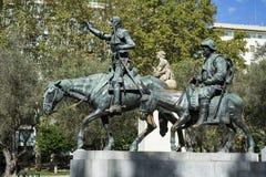 Don Quixote staty på den Spanien fyrkanten Royaltyfri Fotografi