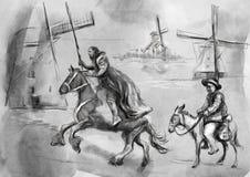 Don Quixote - un ejemplo pintado a mano Tecnología del dibujo de Digitaces ilustración del vector