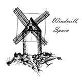 Don Quixote Windmills in Consuegra Spanje illustratie van de schets de hand getrokken grafiek Stock Foto