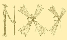 Don Quixote and windmills, similar to letters. hand-drawn illustration. Vintage Retro engraving Stock Image
