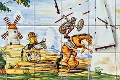 Don Quixote y molinoes de viento imagen de archivo libre de regalías