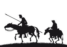 Don Quixote y Sancho Panza ilustración del vector