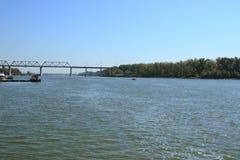 Don River på den tidiga Oktober morgonen Arkivfoto