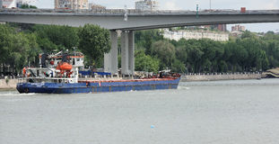On the Don River sailing freighter. On the waterfront walk peop Stock Photography