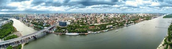 Don Rosja widok z lotu ptaka, panoramy miasto Obrazy Stock