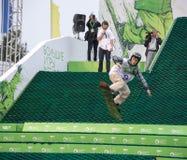Don, Rosja, Wrzesień 26, 2013 - atleta skacze dalej Zdjęcie Stock