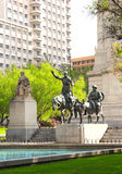 Don Sancho Panza i donkiszota statua, Madryt, Hiszpania Zdjęcie Stock