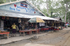 Don Sao, Laos, 6 June 2014 - Island between the rivers of Mekong and Ruak Royalty Free Stock Photography
