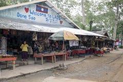 Don Sao Laos, 6 Juni 2014 - ö mellan floderna av Mekong och Ruak Royaltyfri Fotografi