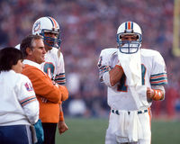 Don Shula and Dan Marino, Miami Dolphins. Dolphins HC Don Shula and QB Dan Marino. (Image taken from color slide royalty free stock image