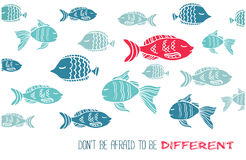 Don't afraid be different greeting card with fish Royalty Free Stock Photography