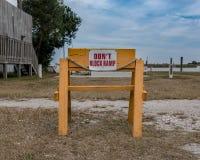 Don`t Block Ramp Sign. Along Marsh Waterway Stock Image