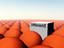 Don't Conform 12. A Conceptual image of a square representing being a unique individual (not conforming) amongst conformity Stock Photo