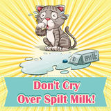 Don't cry over spilt milk. Illustration Royalty Free Stock Images