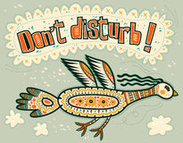 Don't disturb! Flying decorative bird. Royalty Free Stock Photography