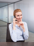 Don't disturbe businesswoman at phone Royalty Free Stock Image