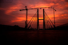 Don't downgrade your dreams to match the reality .Upgrade your beliefs to match your vision. Another melodramatic sunrise at Nagpur,sets the sky on fire and Royalty Free Stock Photography