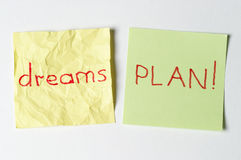 Don`t dream, plan!. Crumpled dream word and plan word Royalty Free Stock Photos