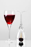 Don't driink and drive. Close up of a glass of wine an car key royalty free stock images