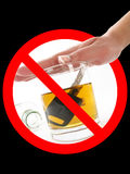 Dont drink when drive. Glass of alcohol in prohibition signal Royalty Free Stock Photography