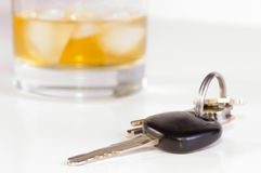 Don't drink and drive. Car keys and drink; don't drink and drive Royalty Free Stock Images