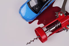 Don't drink and drive concept. pener for wine bottles an stain red of wine.  Responsibly and safety driving Stock Photography