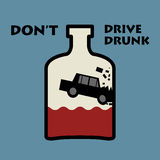 Don't drive drunk. Color illustration Royalty Free Stock Images