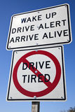 Don't drive tired Royalty Free Stock Image