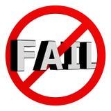 Don't fail. Text fail at stop symbol vector illustration